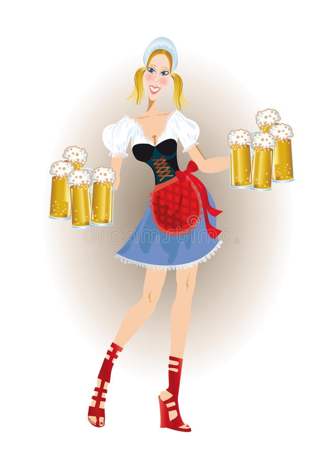 Bavarian woman with beer stock illustration