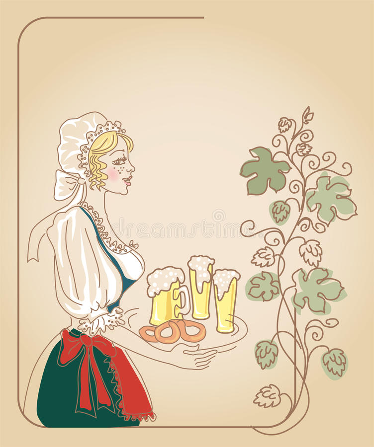 Bavarian woman with beer. Oktoberfest bavarian woman in traditional clothes with beer vector illustration