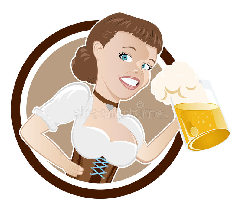 Bavarian woman with beer. Cartoon button illustration of Bavarian woman with glass or stein of beer; isolated on white background royalty free illustration