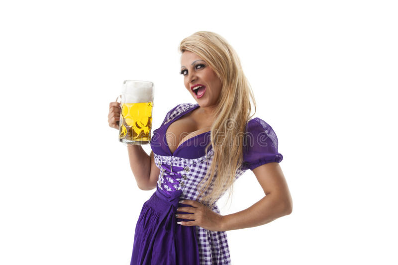 Bavarian woman. With a beer stock photos