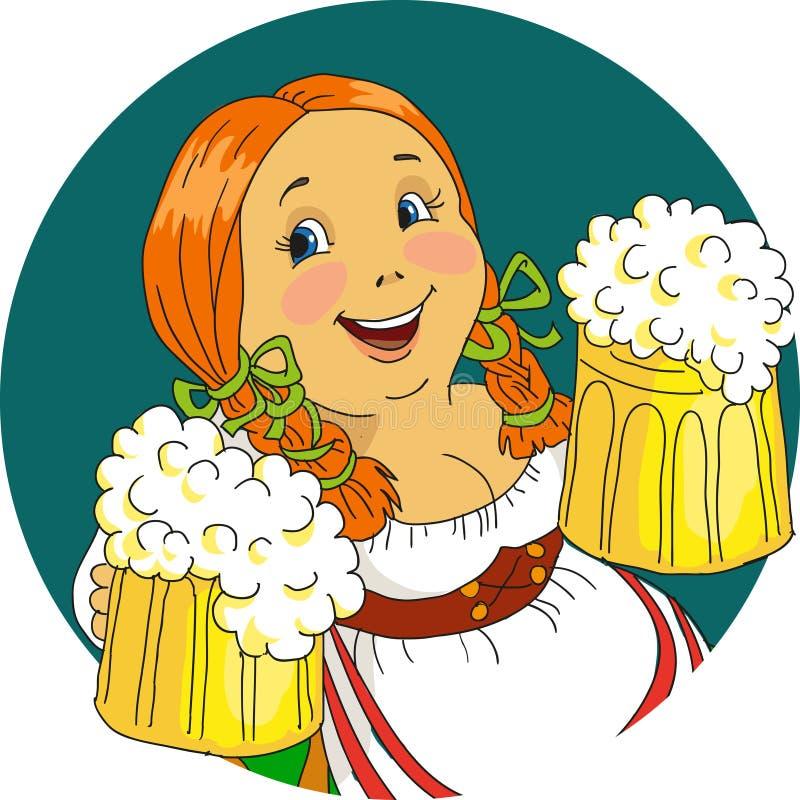 Bavarian. Woman with beer mugs. Cartoon. Vector royalty free illustration
