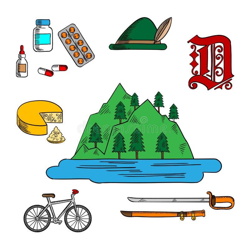 Bavarian y símbolos alemanes del viaje libre illustration
