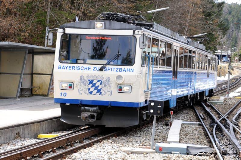 The Bavarian Zugspitze Railway - Grainau. The cogwheel train to the Schneeferner glacier directly from Garmisch-Partenkirchen, Grainau or Eibsee stock photo