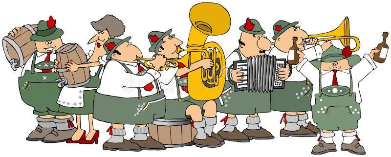 Bavarians having an Oktoberfest party stock illustration