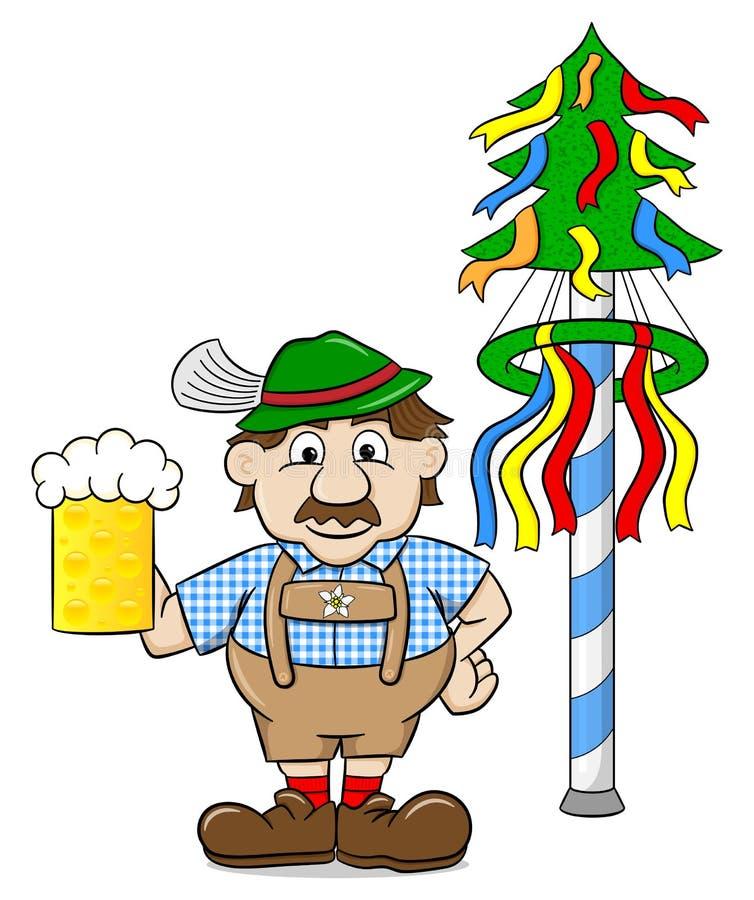 Bavarois avec de la bière et un mât illustration libre de droits