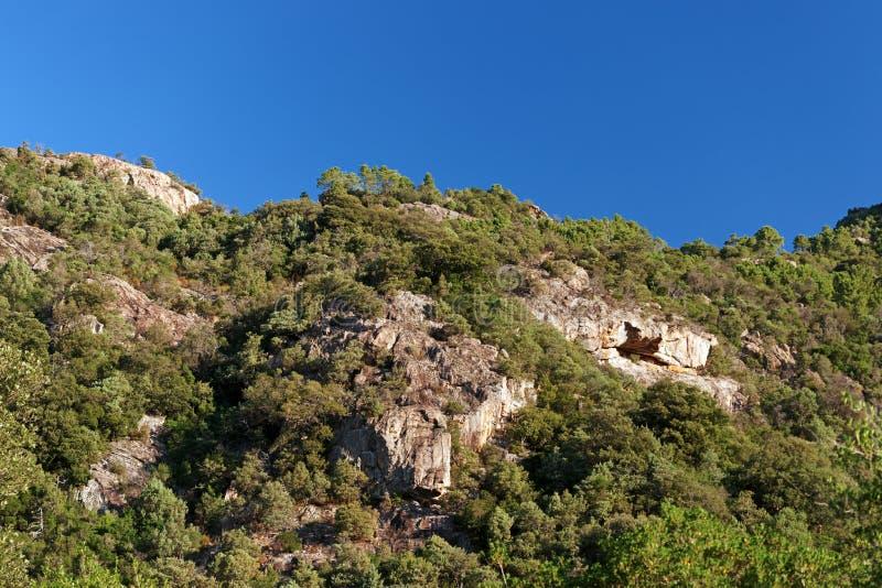 Bavella山在可西嘉岛海岛 免版税库存图片