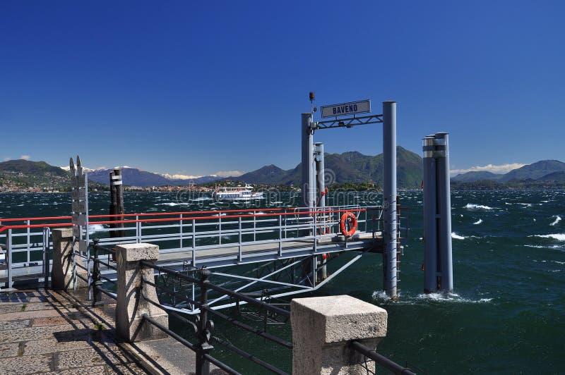 Baveno ferry pier, Lake Maggiore. Windy weather stock photo