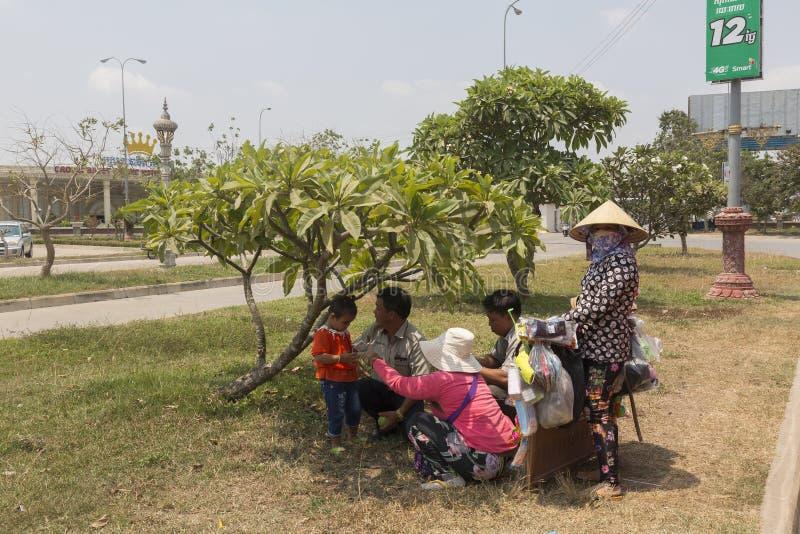 Bavet grensovergang tussen Kambodja en Vietnam royalty-vrije stock afbeelding