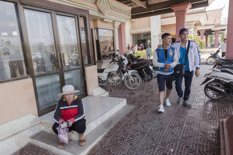 Bavet grensovergang tussen Kambodja en Vietnam royalty-vrije stock afbeeldingen