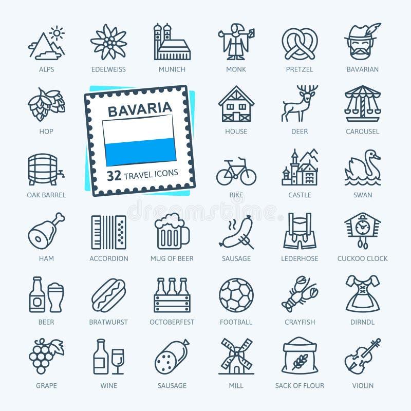 Baviera, bávara, Baviera - línea fina mínima sistema del icono de la web Colecci?n de los iconos del esquema ilustración del vector