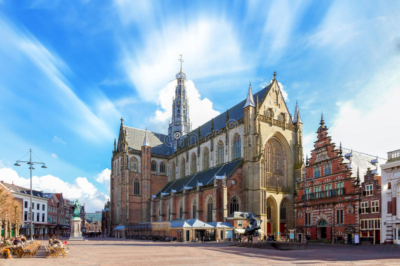 Bavo church in Haarlem stock images