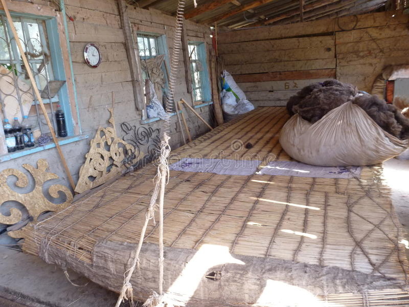 A baw of raw wool prepared for traditional yurt making royalty free stock image