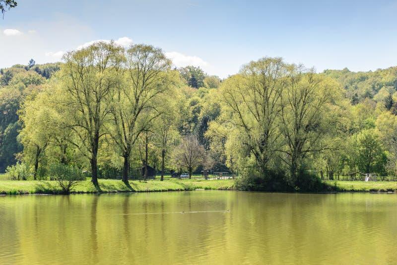 Bawarski krajobraz z jeziorem obraz royalty free