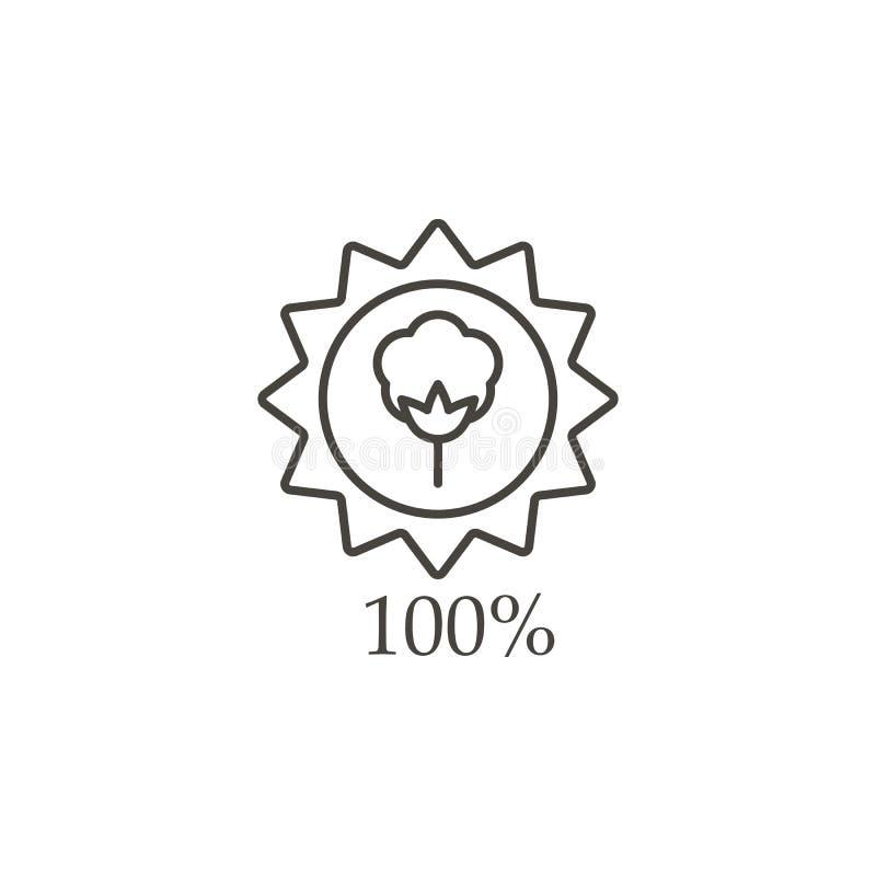 Bawełniana etykietka, bawełniana ilość, 100% ikona - wektor r Bawełniana etykietka, bawełniana ilość, 100% ilustracja wektor