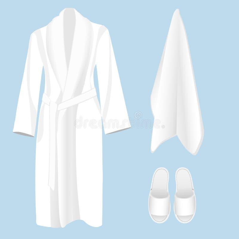 Bawełniany łazienki akcesorium bathrobe, ręcznik i kapcie -, royalty ilustracja