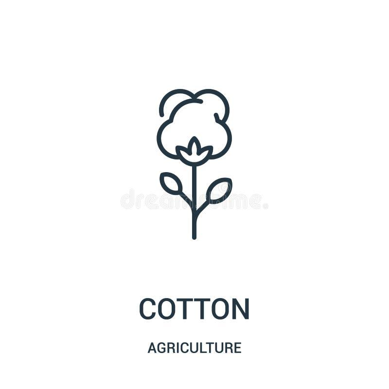 bawełniany ikona wektor od rolnictwo kolekcji Cienka kreskowa bawełniana kontur ikony wektoru ilustracja Liniowy symbol dla używa ilustracja wektor