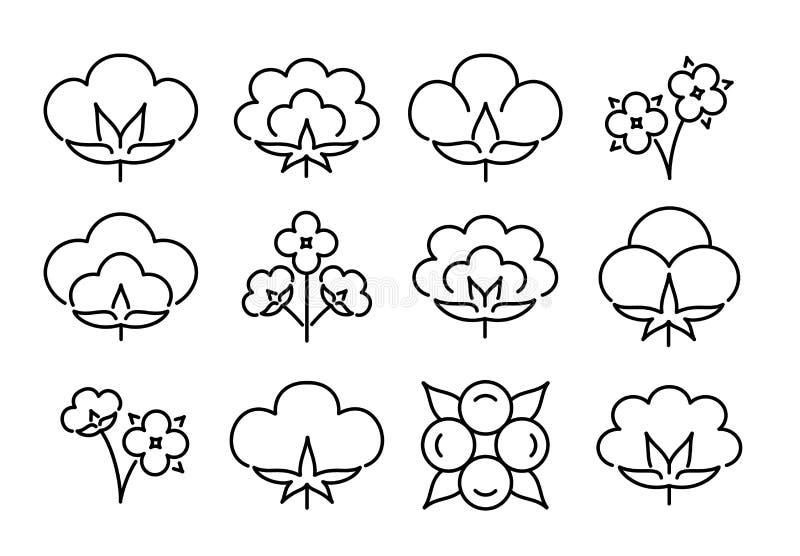Bawełniany kwiat & piłka Kreskowy ikona set Symbol & logo dla naturalnego eco organicznie tkaniny, tkanina Czarny & bia?y Wektoro royalty ilustracja