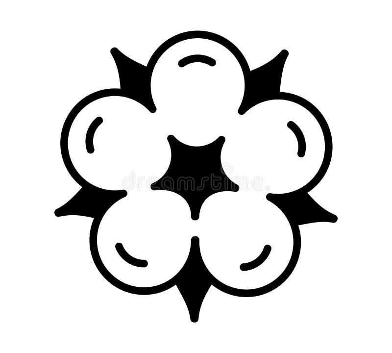 Bawełniany kwiat & piłka Odg?rny widok Symbol, logo naturalnego eco organicznie tkanina, tkanina Mieszkanie kreskowa ikona na bia ilustracji