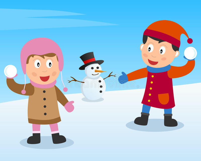 bawić się śnieg piłka dzieciaki ilustracji