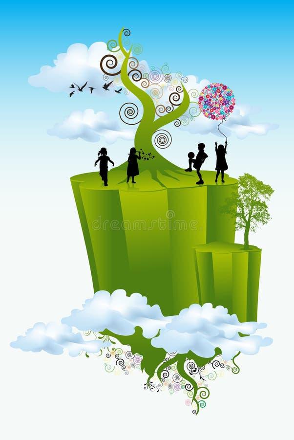 bawić się świat zieleni dzieciaki royalty ilustracja