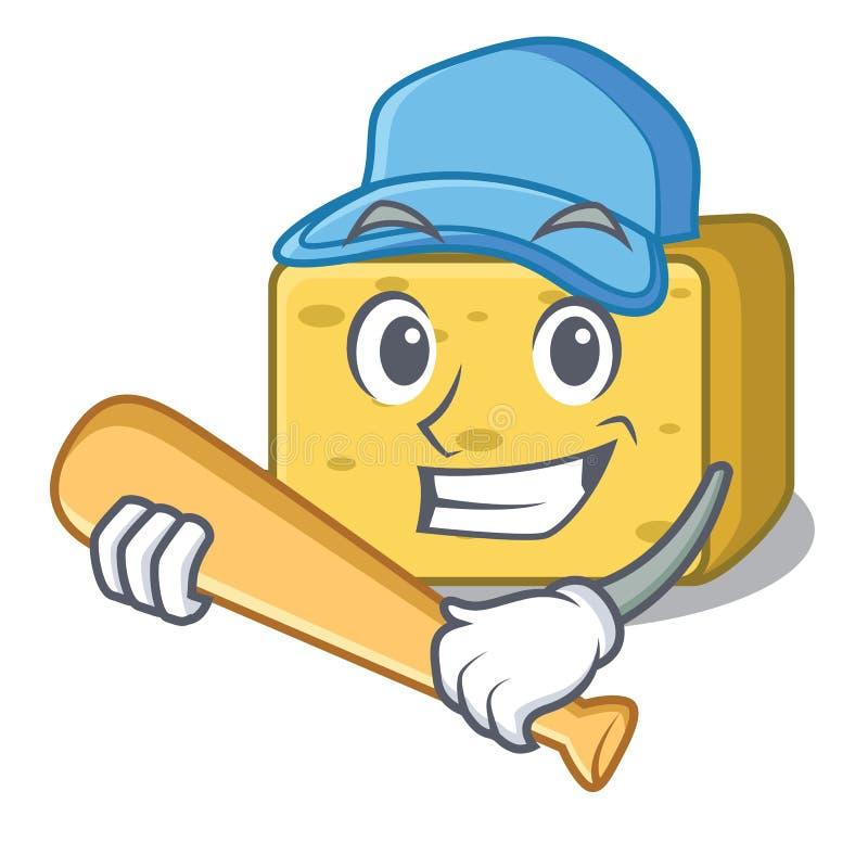 Bawić się baseballa gouda sera charakteru kreskówkę royalty ilustracja