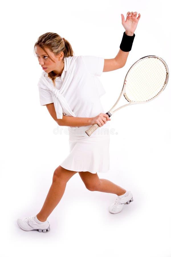 bawić się bocznego tenisowego widok dorosły gracz obrazy royalty free