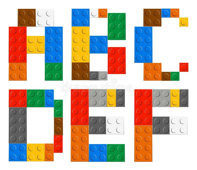 Bawić się cegły abecadła zabawkarskich listy royalty ilustracja