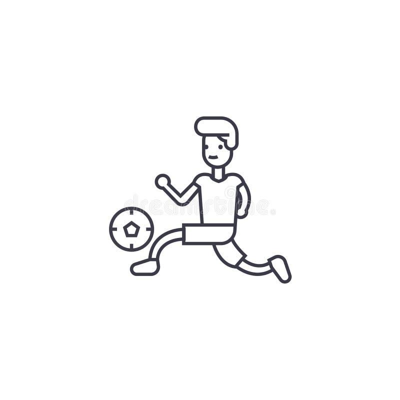 Bawić się futbolową wektor linii ikonę, znak, ilustracja na tle, editable uderzenia ilustracja wektor