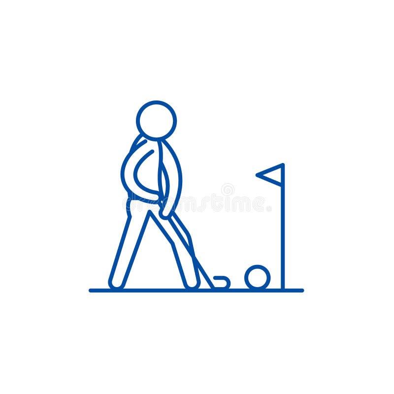 Bawić się golf ikony kreskowego pojęcie Bawić się golfowego płaskiego wektorowego symbol, znak, kontur ilustracja ilustracja wektor