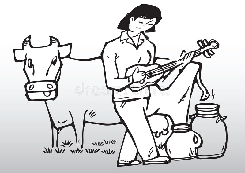 bawić się kobiety krowy gitara royalty ilustracja