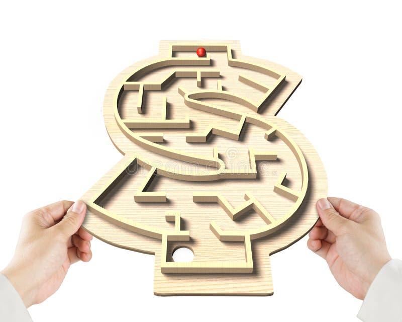 Bawić się labirynt balową grę w pieniądze kształcie boksuje obraz royalty free