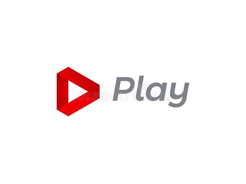 Bawić się loga filmu wektorowego muzycznego cyfrowego wideo gracza ilustracji