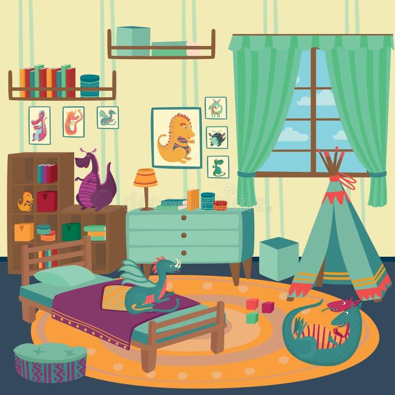 Bawić się pokój dla chłopiec z smok zabawkami, wygodnymi dzieciakami wewnętrznymi z ślicznymi zabawkami i meblarską wektorową ilu ilustracja wektor