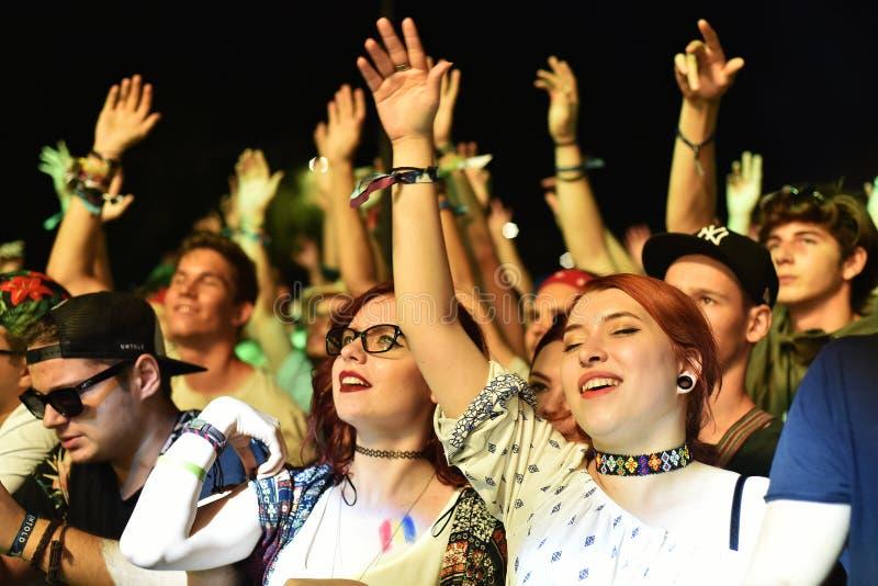 Bawić się tłumu w złotym okręgu przy koncertem fotografia stock