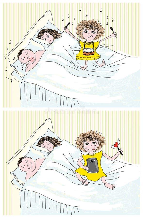 bawić się target2506_1_ córka rodzice royalty ilustracja