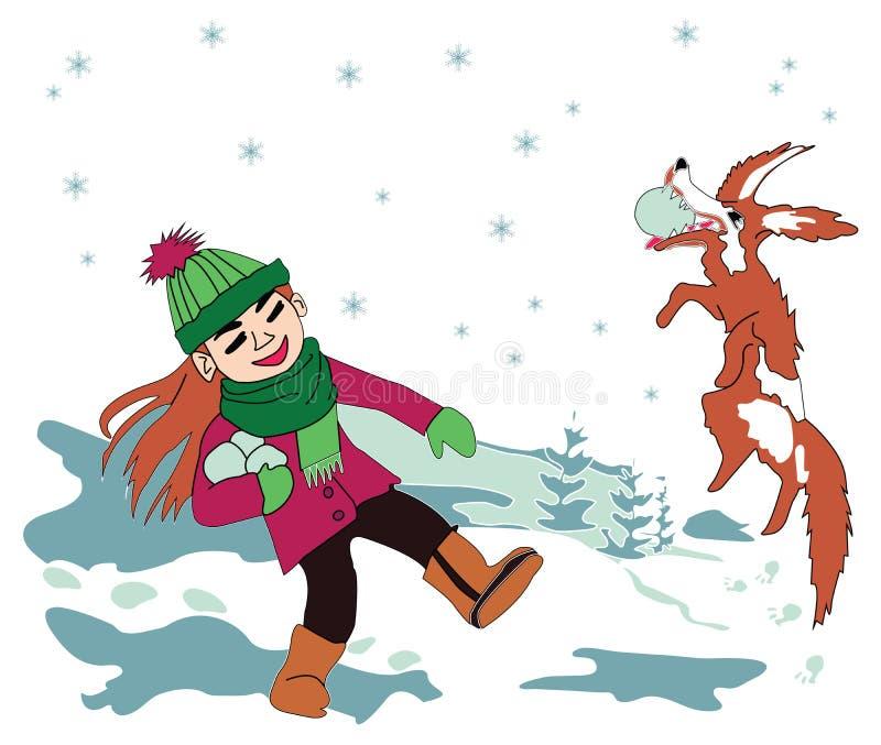 Bawić się w śnieżnym psie i dziewczynie ilustracja wektor