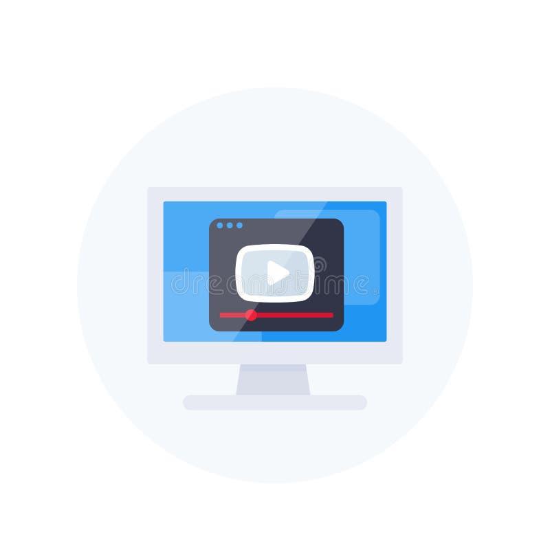 Bawić się wideo, gracza okno na parawanowej wektorowej ikonie ilustracja wektor