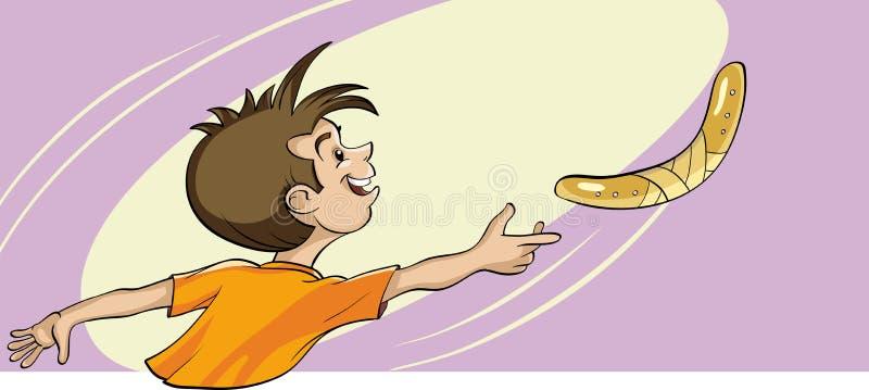 Bawić się z bumerangiem ilustracji