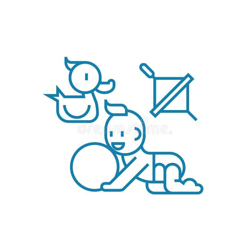Bawić się z dziecko ikony liniowym pojęciem Bawić się z dziecko linii wektoru znakiem, symbol, ilustracja ilustracja wektor