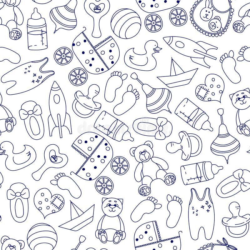 Bawi się bezszwowego wzór Oblicza Doodle błękit na białym tle dla dzieci wektor zdjęcia stock