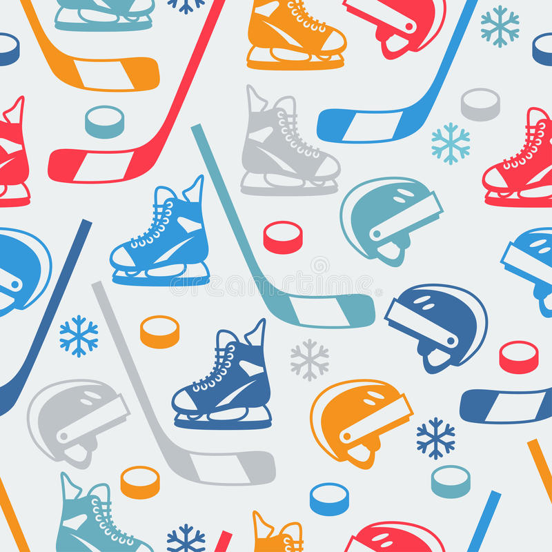 Bawi się bezszwowego wzór z hokejowym wyposażenia mieszkaniem ilustracji
