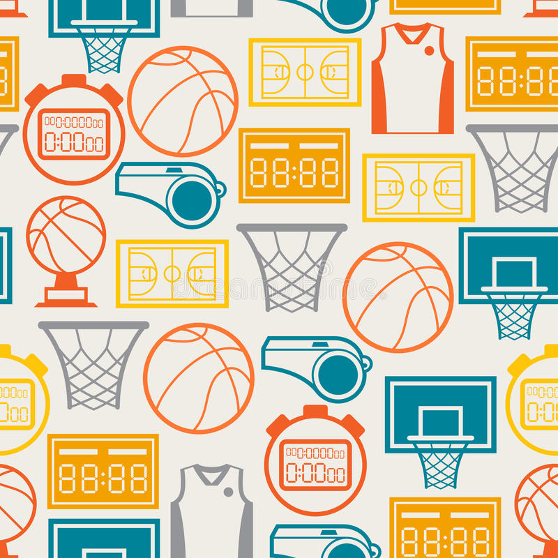 Bawi się bezszwowego wzór z koszykówek ikonami wewnątrz ilustracja wektor
