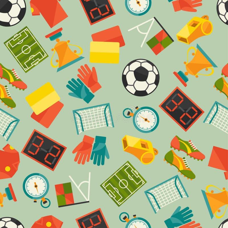 Bawi się bezszwowego wzór z piłką nożną (futbol royalty ilustracja