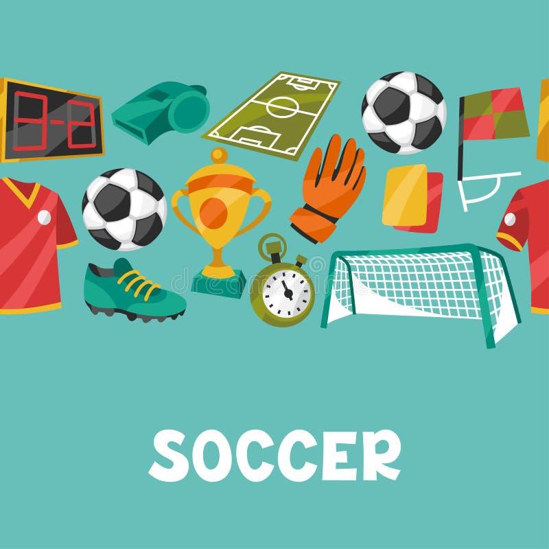 Bawi się bezszwowego wzór z piłka nożna futbolem royalty ilustracja