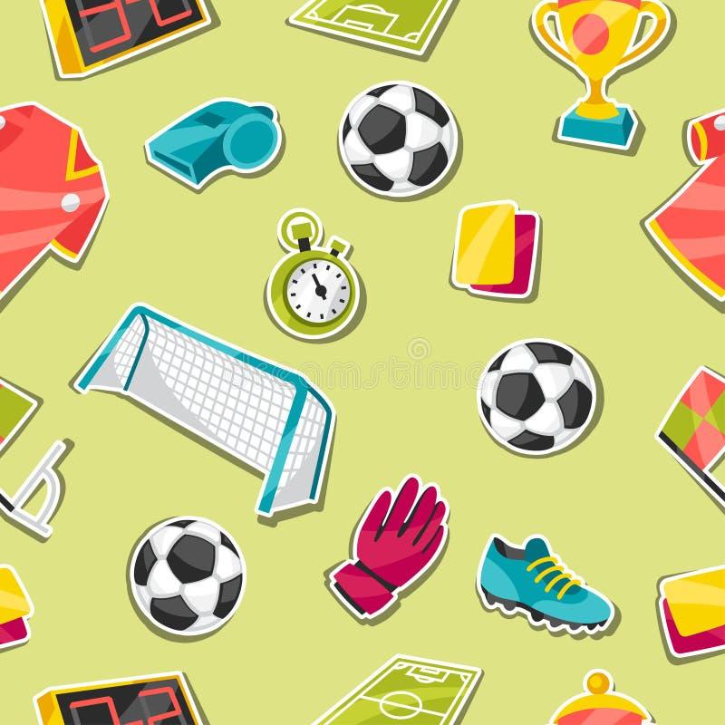 Bawi się bezszwowego wzór z piłka nożna majcherem ilustracji