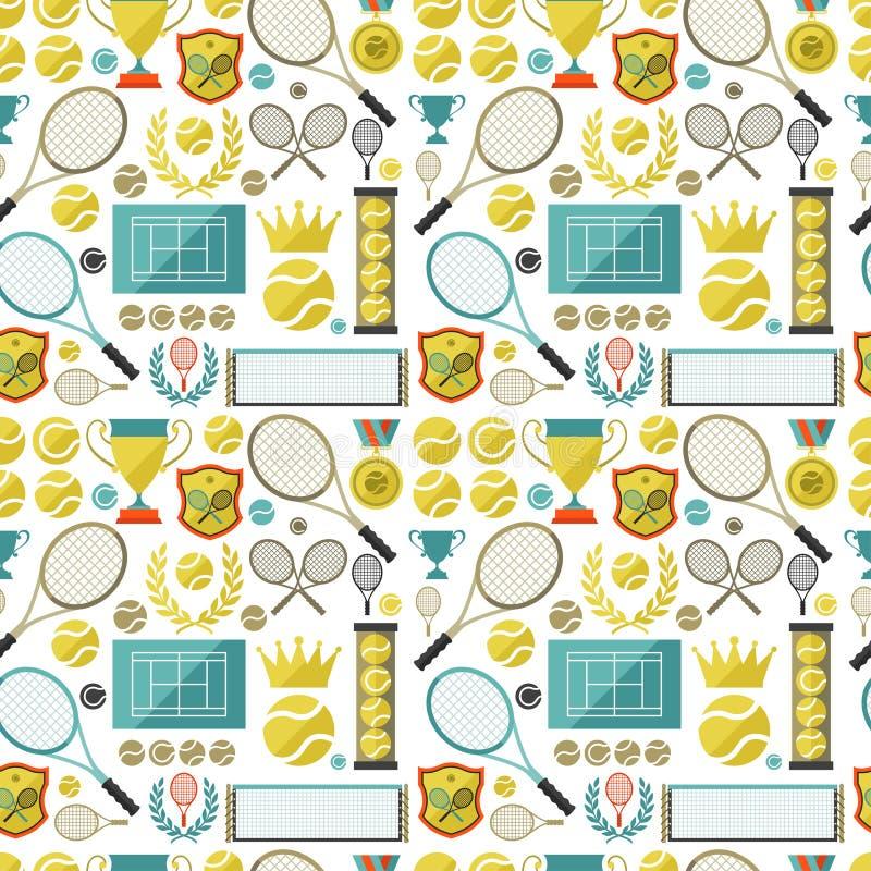 Bawi się bezszwowego wzór z tenisowymi ikonami w mieszkaniu royalty ilustracja
