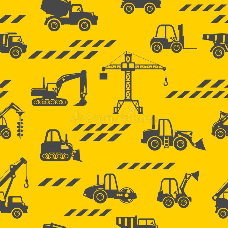Bawi się ciężkiej budowy maszyn bezszwowego wzór Ciężki budowy wyposażenie i górnicza maszyneria również zwrócić corel ilustracji ilustracja wektor