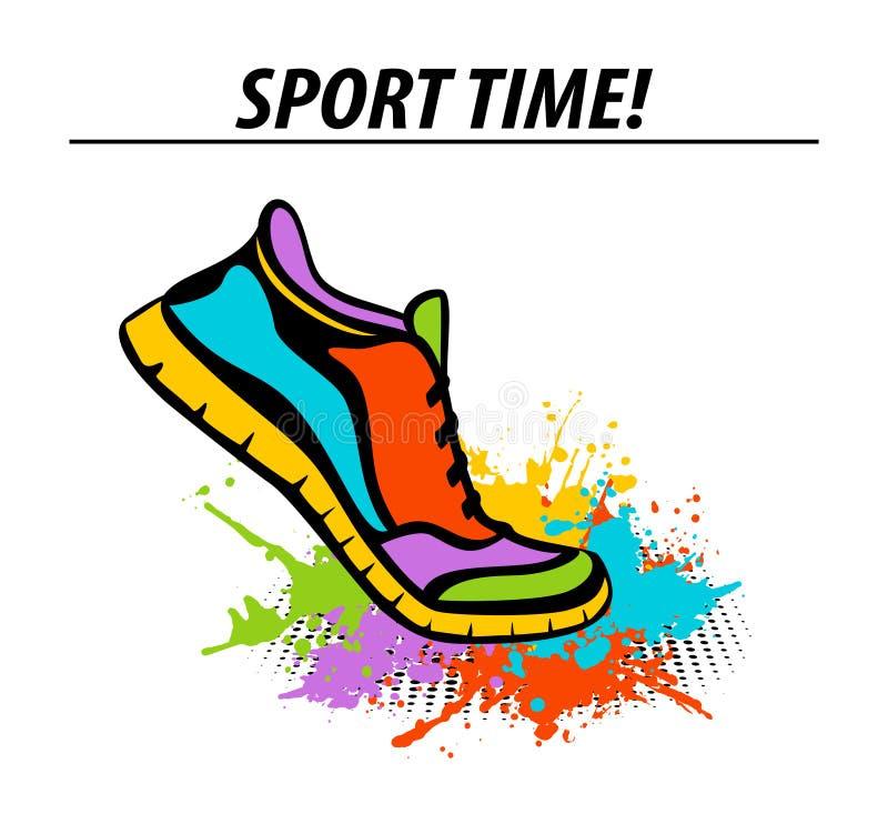 Bawi się czasu motywacyjnego kolorowego sztandar z sport sprawności fizycznej działający tenisówka ilustracji