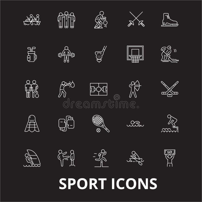Bawi się editable kreskowy ikony wektorowego ustawiającego na czarnym tle Bawi się białe kontur ilustracje, znaki, symbole ilustracja wektor