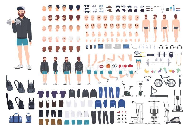 Bawi się faceta charakteru konstruktora Bodybuilder mężczyzna tworzenia set Różne postury, fryzura, twarz, nogi, ręki ilustracji